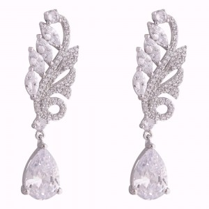 Buy Rhodium Plated Sea Fern Earrings Online
