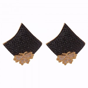 Buy Gold Colored Black Bella Earrings Online
