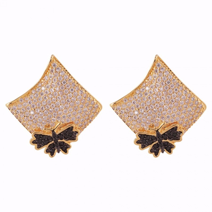 Gold Colored Studded Bella Earrings Online