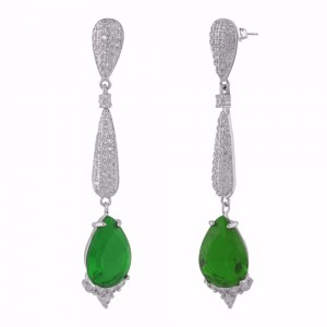 Buy Rhodium Plated Green I Earrings Online