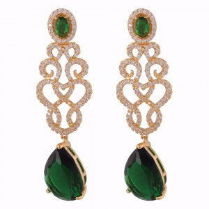 Buy Gold Colored Green Angel Earrings Online
