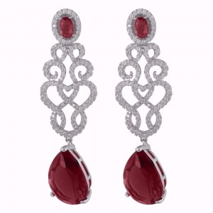 Buy Rhodium Plated Red Angel Earrings Online