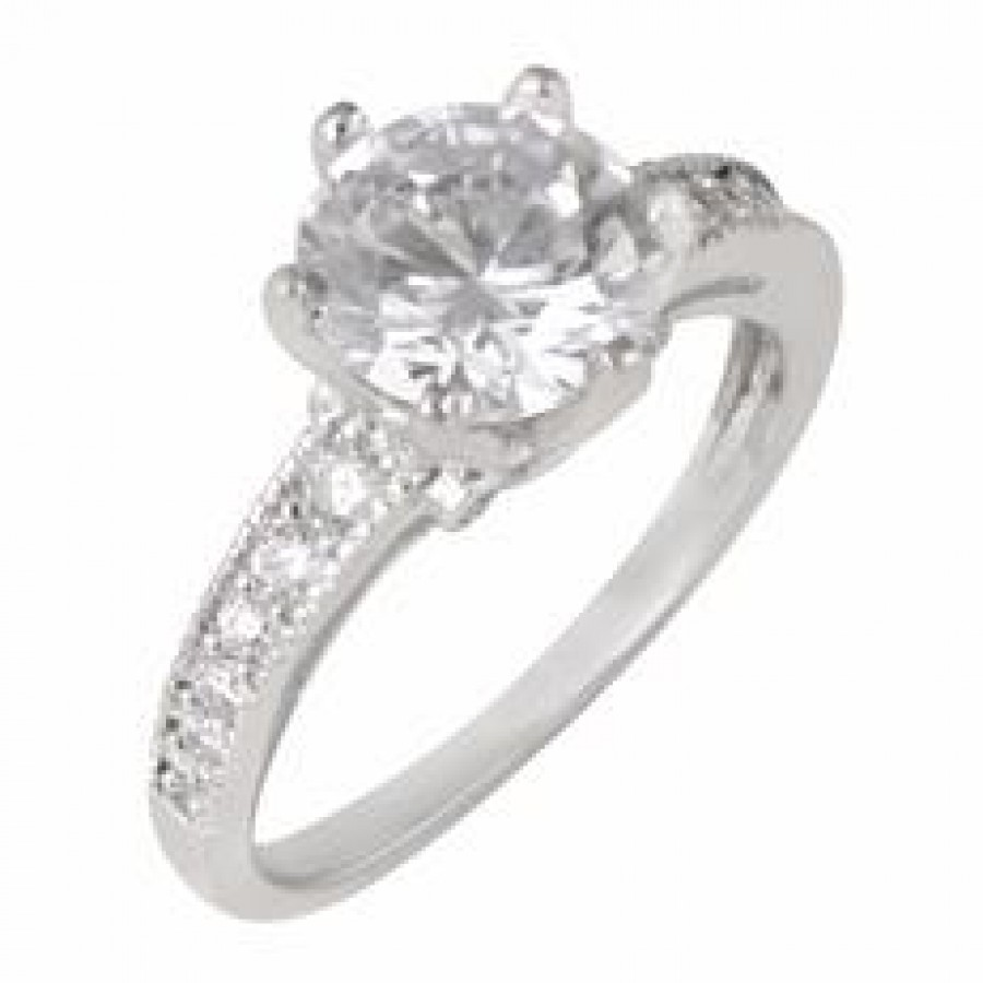 Buy Silver Setin Solitaire Ring with FREE Charm Online