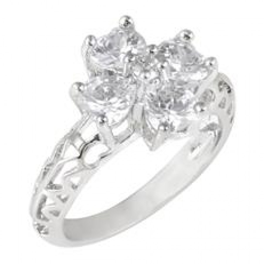 Buy Floral Setin Ring Slv with FREE Charm Online