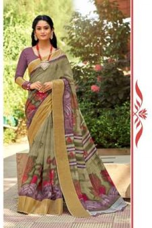 Buy Olive green printed cotton silk designer saree with blouse Online