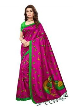 Buy Pink printed art silk saree with blouse Online