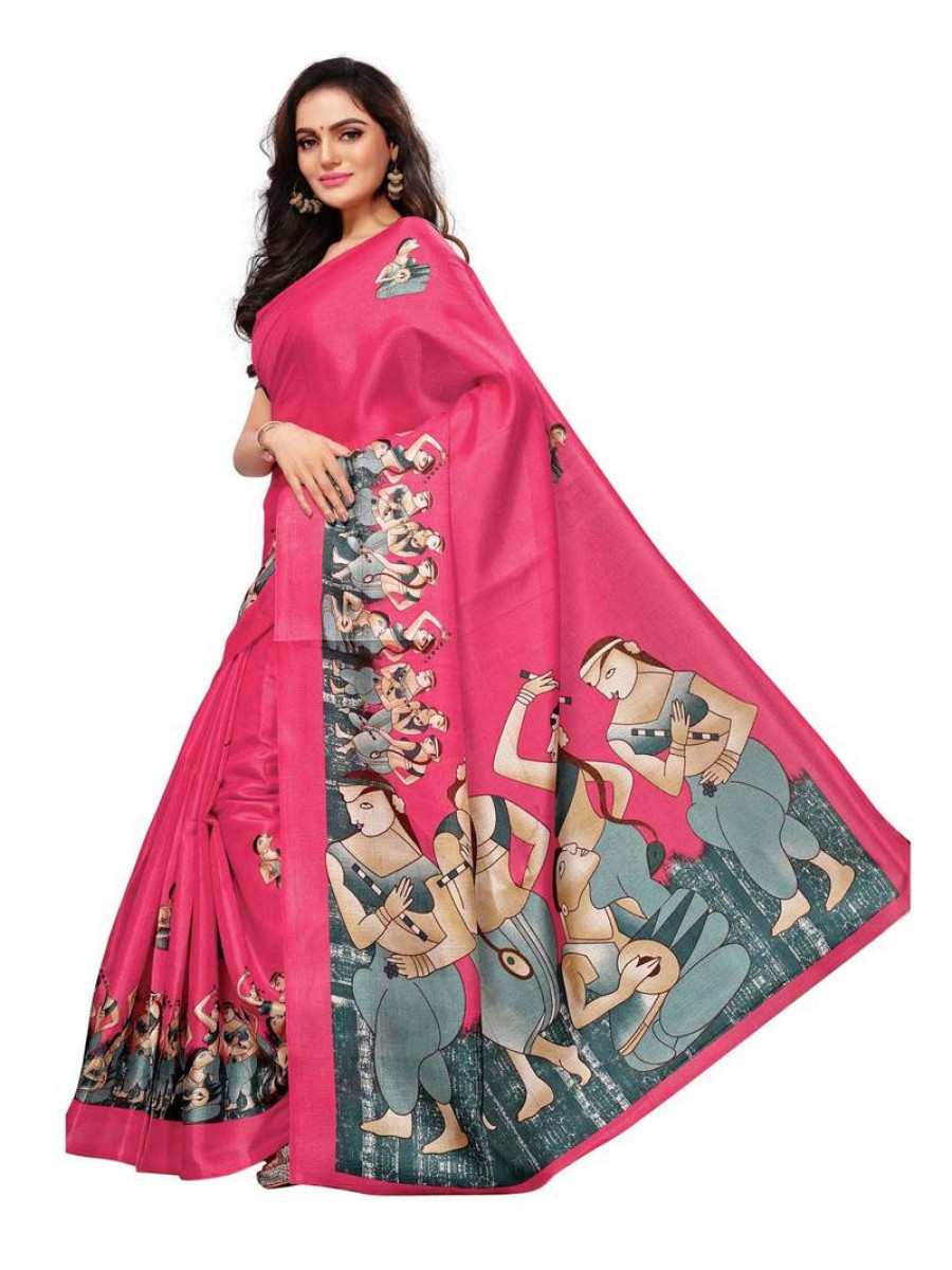 1839c6a4c2b Online Shopping Red printed art silk saree with blouse