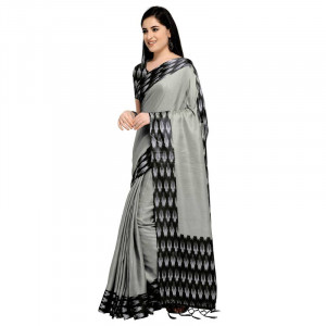 Buy Grey printed silk blend saree with blouse Online
