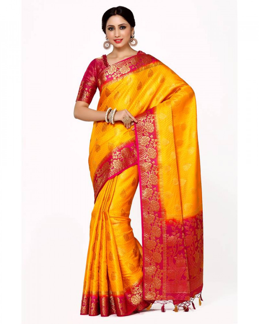 c784ce2d5 Buy Mimosa gold woven art silk saree with blouse Online