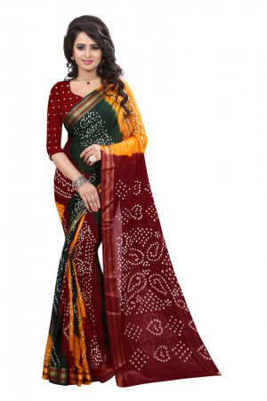 Buy Multicolor hand woven art silk sarees saree with blouse Online