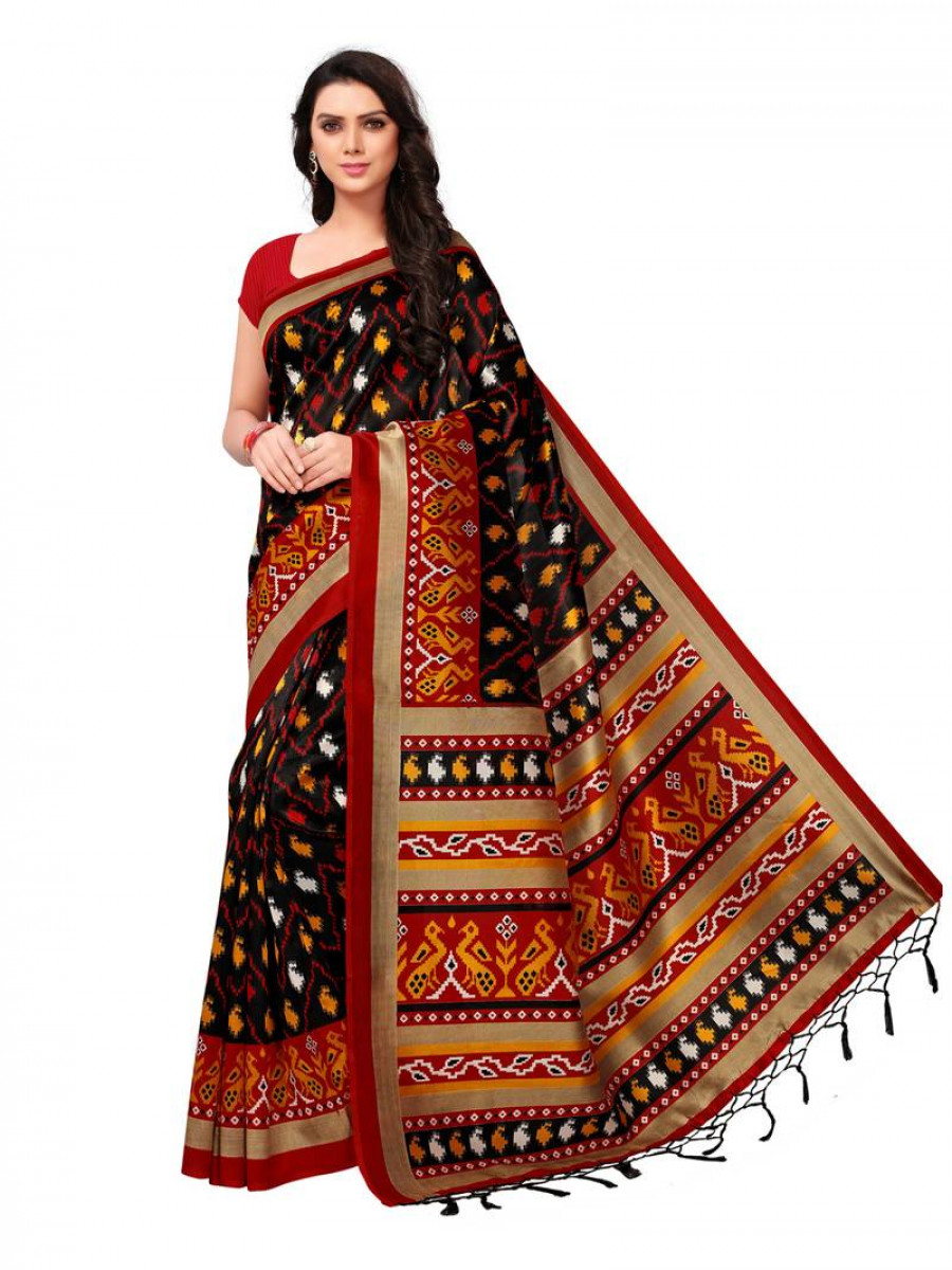 058b0019f Exclusive Black printed art silk saree with blouse