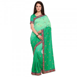 Buy Green embroidered art silk saree with blouse Online