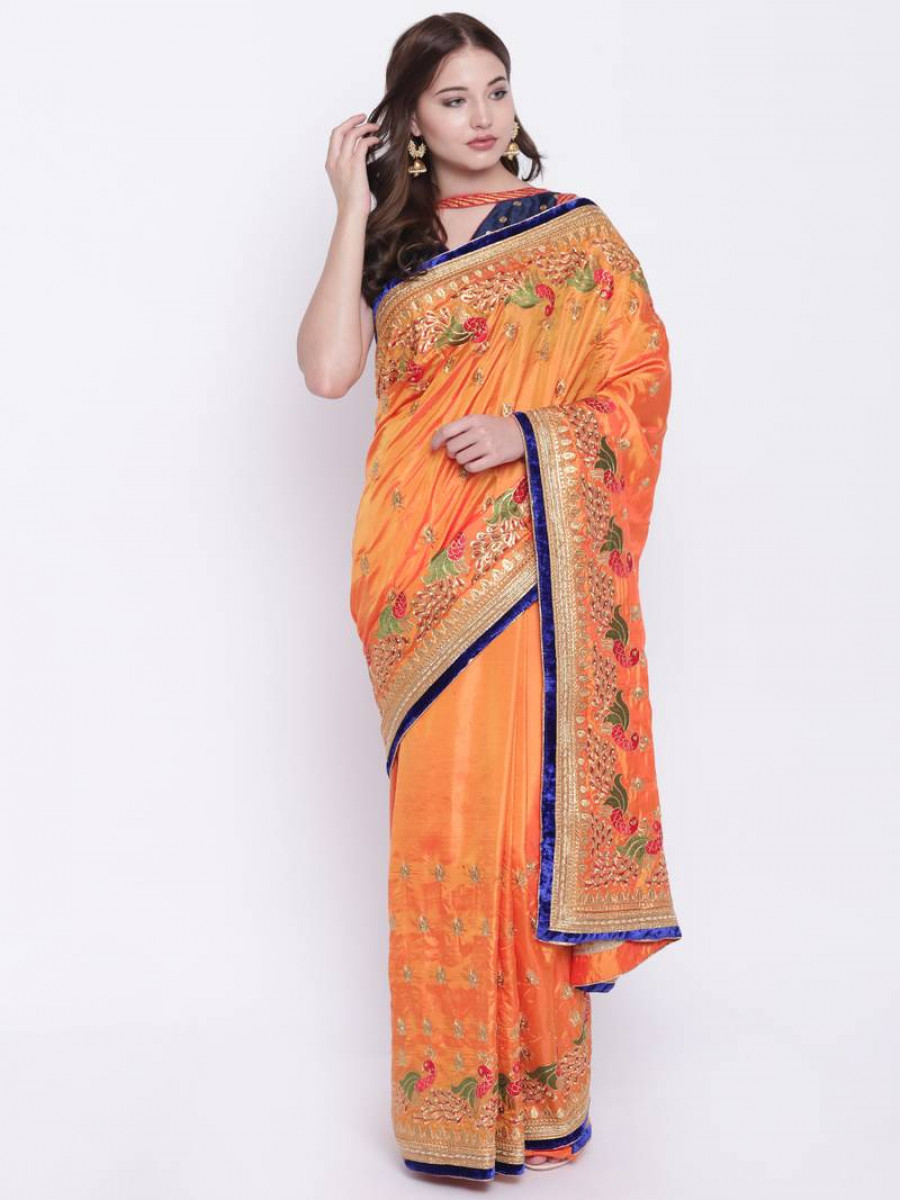 79abd4f55dd Buy Chhabra 555 Orange Embroidered Poly Silk saree with blouse Online