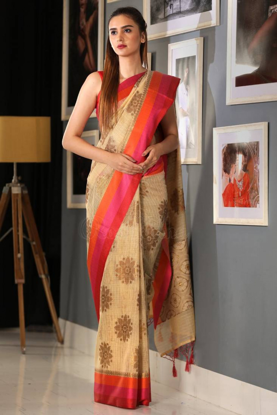 7caaa92182 Shopping For | Beige Hand Woven Banarasi Cotton Saree With Blouse ...